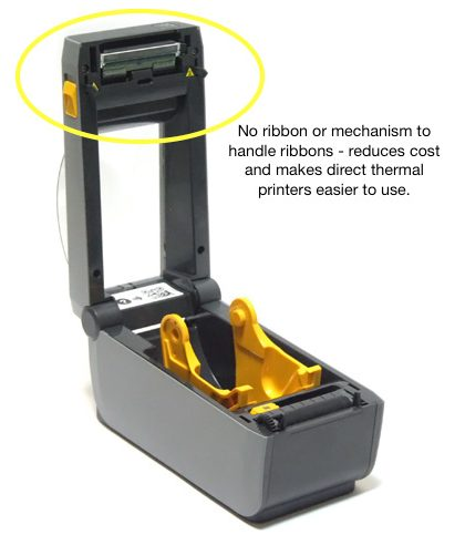 Direct thermal label printer showing the absence of ribbon mechanism