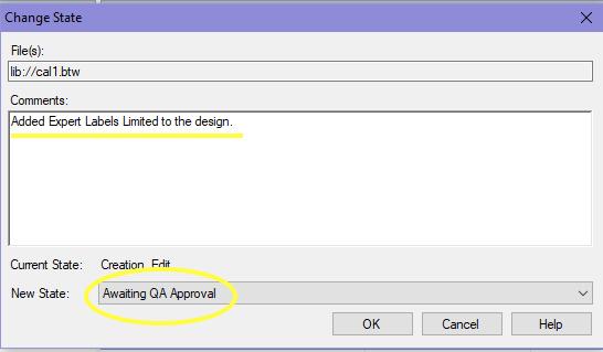 BarTender Change File State window