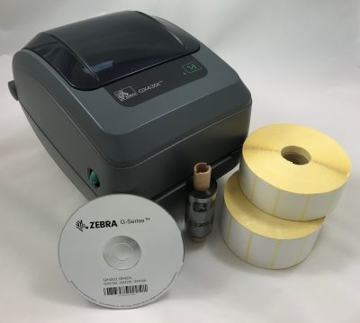 Desktop label printer, labels, ribbon and CD