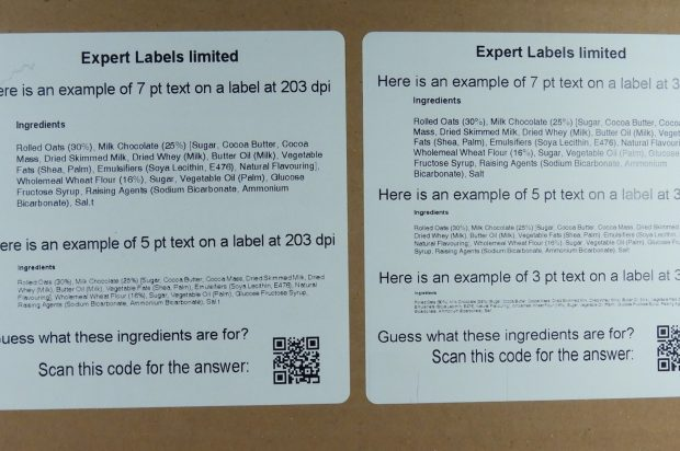 Example labels printed 203 and 300 dpi